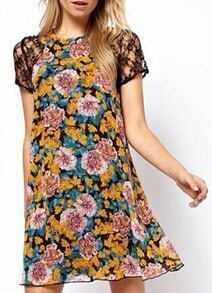 Multicolor Lace Insert Florals A-Line Dress