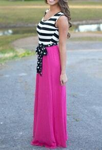 Color-block Striped With Belt Maxi Dress