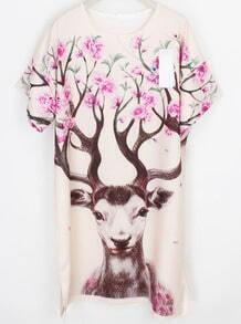 Apricot Short Sleeve Deer Print Shift Dress