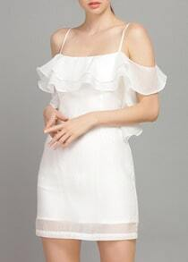 White Off The Shoulder Ruffle Organza Dress