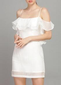 schulterfreies Organza Kleid mit Rüschen-weiß