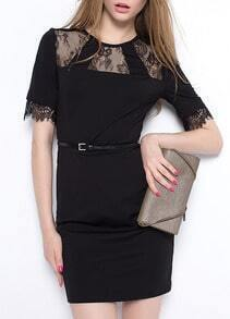 Black Short Sleeve Lace Insert Slim Dress