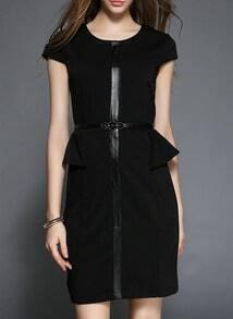 Black Back Zipper Peplum Hem Slim Dress