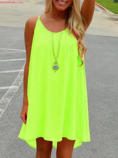 Neon Green Spaghetti Strap Hollow Shift Dress pictures