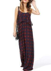 Red Spaghetti Strap Plaid Chiffon Dress