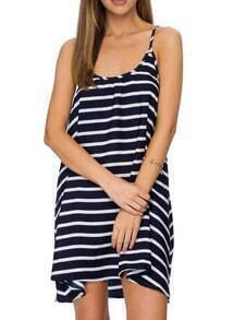 Blue Spaghetti Strap Striped Shift Dress