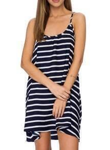 Blue Spaghetti Strap Striped Shift Dress