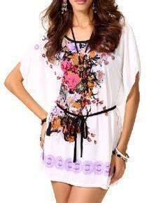 White Bat Sleeve Flower Print Dress