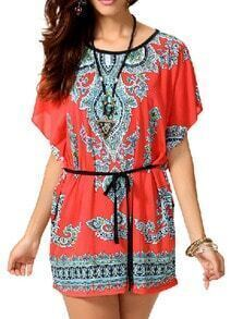Red Bat Sleeve Vintage Print Dress