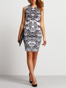 White Sleeveless Abstract Print Slim Dress