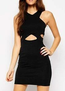 Black V Neck Hollow Bodycon Dress
