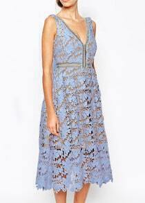 Blue Deep V Neck Hollow Dress