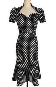 Black Monochrome V Neck With Belt Heart Spotty Polka Dot Dress Forties Poka Clothes