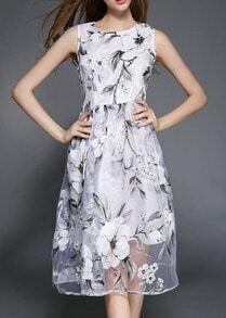 White Sleeveless Flower Print Dress