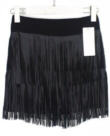 Black With Tassel PU Skirt