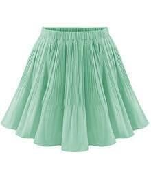 Purple Elastic Waist Pleated Chiffon Skirt