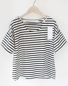 Black Striped Loose T-Shirt