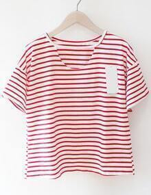 Red Striped Loose T-Shirt