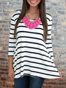 White Striped Dip Hem T-Shirt
