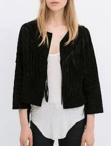 Black With Tassel Crop Coat