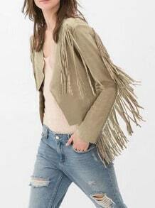 Camel With Tassel Crop Coat