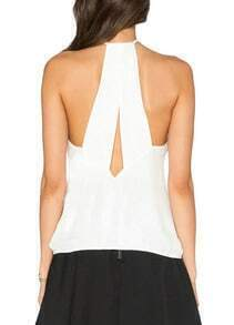 White Deep V Neck Chiffon Tank Top