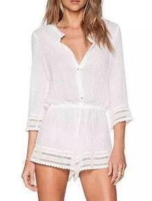 White Deep V Neck Hollow Romper