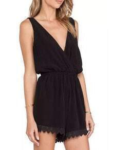 Black Deep V Neck Lace Hem Romper