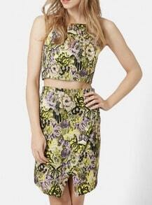 Yellow Halter Flower Print Tank Top With Wraped Skirt