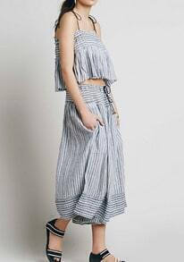 Blue Spaghetti Strap Cami Top With Vertical Striped Pant