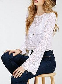 White Bell Sleeve Back Zipper Lace Top