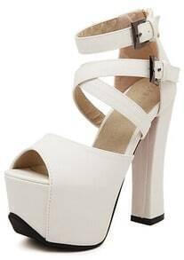 White Buckle Strap High Heel Sandals
