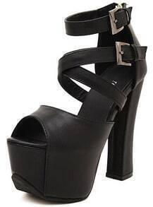 Black Buckle Strap High Heel Sandals