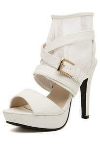 White High Heel Buckle Strap Ankle Strap Sandals