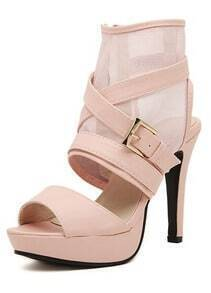 Pink High Heel Buckle Strap Ankle Strap Sandals