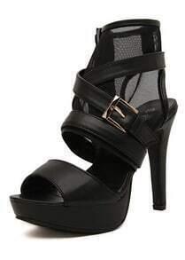 Black High Heel Buckle Strap Ankle Strap Sandals
