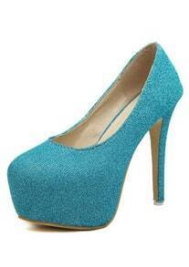 Blue High Heel Hidden Platform Pumps