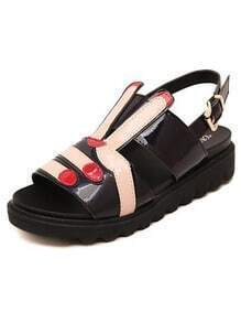 Black Casual Buckle Strap Rabbit Sandals