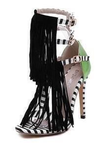 Black White Striped Tassel Sandals