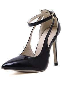Black Stiletto High Heel Buckle Pumps