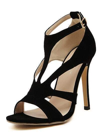 Black High Heel Buckle Strap Sandals