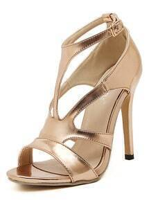 Champagne High Heel Buckle Strap Sandals