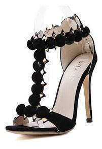 Black High Heel Rivet Sandals