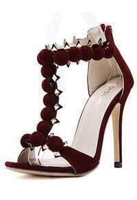 Wine Red High Heel Rivet Sandals