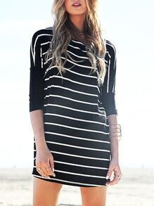 Black Half Sleeve Striped Dress