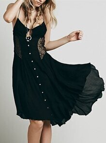 Black Spaghetti Strap With Lace Asymmetric Dress