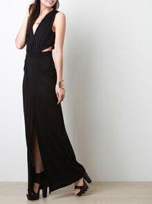 Black Sleeveless Deep V Neck Cut Out Split Maxi Dress