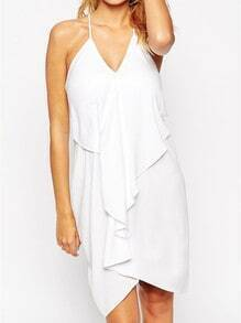 White Spaghetti Strap V Neck Backless Dress