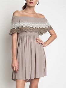 Coffee Off The Shoulder Battenburg Ruffle Layer With Lace Dress