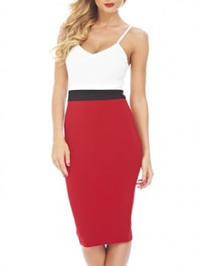 White Red Slipdresses Spaghetti Strap Color Block Bodycon Dress